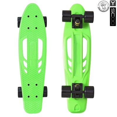 "405-G Скейтборд Y-SCOO Skateboard Fishbone с ручкой 22&"" винил 56,6х15 с сумкой GREEN/black"