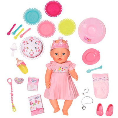 Интерактивная кукла Zapf Creation Baby Born 825-129 Бэби Борн Нарядная с тортом 43 см
